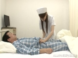 Naughty Asian nurses enjoy a hard cock in this threesome