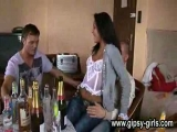 horny drunken gangbang party with natural gipsy babe