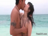 Hina Maeda on the beach a cock stuffed deep in her mouth