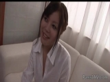 Cute Yuu Sakura in a white shirt skull fucked and cum blasted